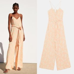 NWT zara long printed jumpsuit size S